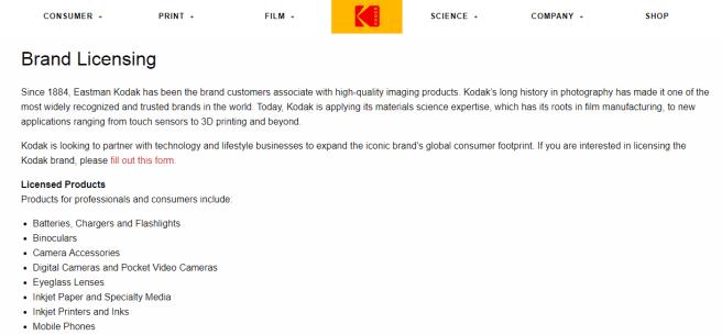 a screenshot of Kodak's brand licensing page...