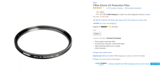 Cheap Tiffen filter sold by Amazon.com