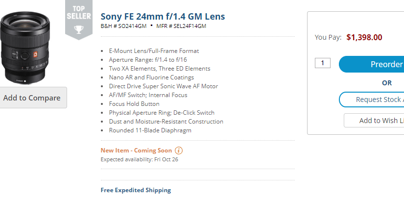 Sony's New 24mm G Master Lens' Pricing Weirdness