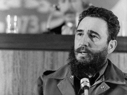 Cuban Prime Secretary of the Cuban Communist party and President of the State Council Fidel Castro addresses 13 September 1973 in Algiers the fourth Non-Aligned Movement (NAM) summit. AFP PHOTO PRESSENS BILD/STIG NILSSON  / AFP / SCANPIX SWEDEN / STIG NILSSON        (Photo credit should read STIG NILSSON/AFP/Getty Images)