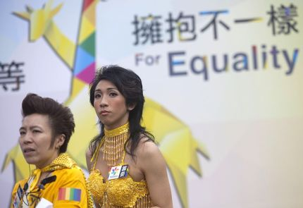 Members of the Lesbian, Gay, Bi-sexual and Transgender (LGBT) community take part in the LGBT parade in Hong Kong on November 6, 2015. Hong Kong's streets were coloured by rainbow flags as protesters marched in the city's annual gay pride parade to call for equality and same-sex marriage. AFP PHOTO / ISAAC LAWRENCE (Photo credit should read Isaac Lawrence/AFP/Getty Images)