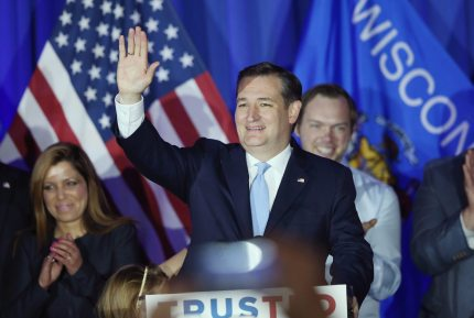 MILWAUKEE, WISCONSIN - APRIL 05:  Republican presidential candidate Sen. Ted Cruz (R-TX) celebrates with supporters at the American Serb Hall Banquet Center after the polls closed on April 5, 2016 in Milwaukee, Wisconsin. Wisconsin  (Photo by Scott Olson/Getty Images)