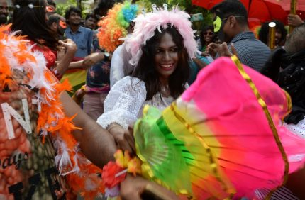Indian members of the LGBT (Lesbian, Gay, Bisexual, Transgender) community take part in a pride parade, calling for freedom from discrimination on the grounds of sexual orientation, in Chennai on June 25, 2017. / AFP PHOTO / ARUN SANKAR (Photo credit should read ARUN SANKAR/AFP/Getty Images)