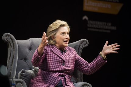 """CHELTENHAM, ENGLAND - OCTOBER 15: Hillary Clinton is interviewed by Mariella Frostrup (not pictured) at the Cheltenham Literature Festival on October 15, 2017 in Cheltenham, England. The former US secretary of state and 2016 American presidential candidate yesterday received an honorary doctorate from Swansea University. She is also visiting the UK to promote her new book """"What Happened"""".  (Photo by Matthew Horwood/Getty Images)"""