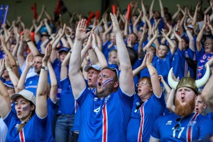 DOETINCHEM, NETHERLANDS - JULY 22: Fans of Iceland celebrate during the UEFA Women's Euro 2017 Group C match between Iceland and Switzerland at Stadion De Vijverberg on July 22, 2017 in Doetinchem, Netherlands. (Photo by Maja Hitij/Getty Images)