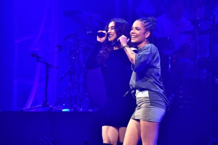 SUNRISE, FL - DECEMBER 17:  Halsey and Lauren Jauregui perform at Y100's Jingle Ball 2017 at BB&T Center on December 17, 2017 in Sunrise, Florida.  (Photo by Gustavo Caballero/Getty Images for iHeartMedia)
