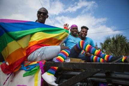 Members of the local gay community take part in the Gay Pride Parade in Santo Domingo on July 2, 2017.   / AFP PHOTO / Erika SANTELICES        (Photo credit should read ERIKA SANTELICES/AFP/Getty Images)
