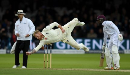 LONDON, ENGLAND - SEPTEMBER 08:  Ben Stokes of England dives for the ball during day two of the 3rd Investec Test match between England and the West Indies at Lord's Cricket Ground on September 8, 2017 in London, England.  (Photo by Gareth Copley/Getty Images)