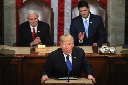 WASHINGTON, DC - JANUARY 30:  U.S. President Donald J. Trump delivers the State of the Union address as U.S. Vice President Mike Pence (L) and Speaker of the House U.S. Rep. Paul Ryan (R-WI) (R) look on in the chamber of the U.S. House of Representatives January 30, 2018 in Washington, DC. This is the first State of the Union address given by U.S. President Donald Trump and his second joint-session address to Congress.  (Photo by Chip Somodevilla/Getty Images)