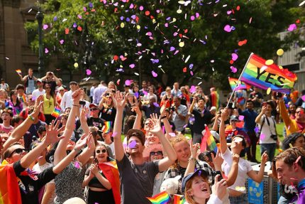 People in the crowd celebrate as the result is announced during the Official Melbourne Postal Survey Result Announcement at the State Library of Victoria on November 15, 2017 in Melbourne, Australia. (Photo by Scott Barbour/Getty Images)