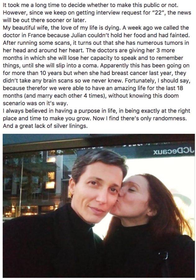 Fleur compartió la trágica noticia en Facebook