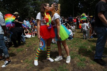 Two women in support of same-sex marriage in Australia (Photo by Lisa Maree Williams/Getty Images)