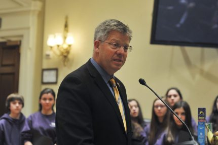 WASHINGTON, DC - MARCH 25: Randy Hultgren (R-IL) speaks during a press conference where Dunkin' Donuts and Baskin-Robbins Community Foundation presents Feeding America a $1,000,000 check at the Longworth House Office Building on March 25, 2014 in Washington, DC. (Photo by Kris Connor/Getty Images for Dunkin' Donuts & Baskin-Robbins Community Foundation)