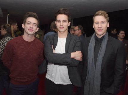 "PALM SPRINGS, CA - JANUARY 12:  Actors Kevin McHale and Austin McKenzie and writer Lance Black attend the North American Premiere of ""When We Rise"" at the 28th Annual Palm Springs International Film Festival on January 12, 2017 in Palm Springs, California.  (Photo by Vivien Killilea/Getty Images for Palm Springs International Film Festival )"