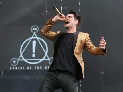 SAN ANTONIO, TX - APRIL 01: Brendon Urie of Panic! at the Disco performs during the Capital One JamFest onstage at the NCAA March Madness Music Festival at Hemisfair on April 1, 2018 in San Antonio, Texas. (Photo by Rick Kern/Getty Images for Turner )