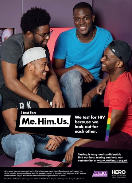 Phil Samba in the 'Me. Him. Us.' HIV campaign