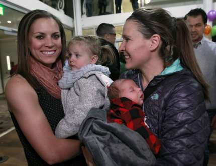 SALT LAKE CITY, UT - NOVEMBER 9: Candice Green Barret (R) and her wife Megan Barrett (L) with their children Quinn and Tucker Pose for a picture at a rally and party in support of gay and lesbian families sponsored by the Utah Pride Center on November 9, 2015 in Salt Lake City, Utah. Last week the Mormon Church announced changes to their policies to  classify people who enter into gay and lesbian marriages as apostates and ban their children from being blessed and baptized into the Mormon Church. Neither on of the Barret's children will be able to be baptized into the Mormon Church because their lesbian parents were married. (Photo by George Frey/Getty Images