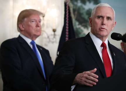 WASHINGTON, DC - MARCH 22: U.S. Vice President Mike Pence speaks before U.S. President Donald Trump signed a presidential memorandum aimed at what he calls Chinese economic aggression in the Roosevelt Room at the White House on March 22, 2018 in Washington, DC.  (Photo by Mark Wilson/Getty Images)