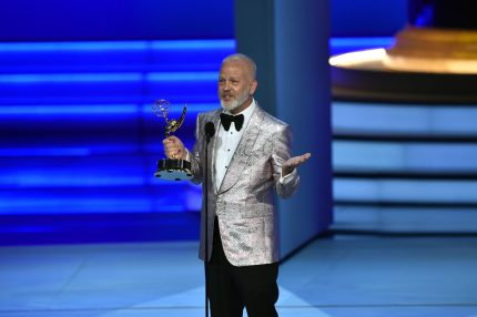 Ryan Murphy accepts the Outstanding Limited Series award for 'The Assassination of Gianni Versace: American Crime Story' onstage during the 70th Emmy Awards at the Microsoft Theatre in Los Angeles, California on September 17, 2018. (Photo by Robyn BECK / AFP) (Photo credit should read ROBYN BECK/AFP/Getty Images)