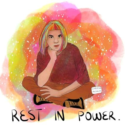 Christina Michalou paid tribute to her friend Zak Kostopoulos in a drawing .