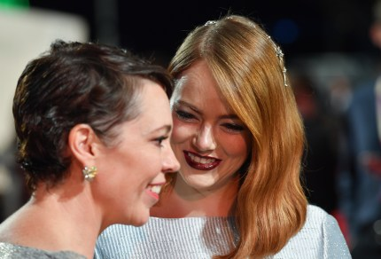 Olivia Colman and Emma Stone attend the UK premiere of The Favourite