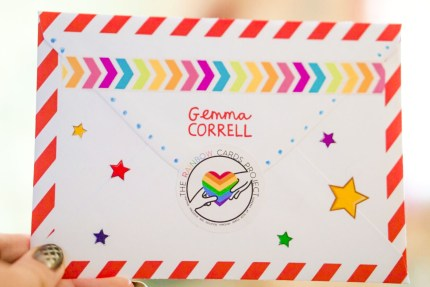 A card designed by Gemma Correll to be sent out by The Rainbow Cards Project