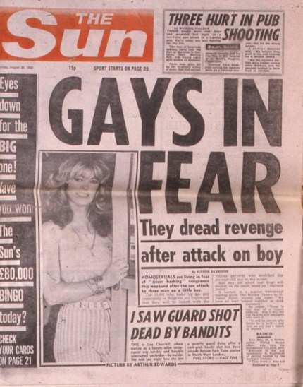 A headline from The Sun in the 1980s, re-published for World AIDS Day