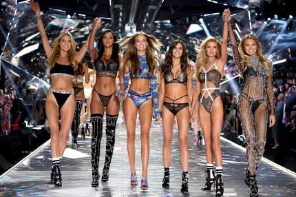 Martha Hunt, Lais Ribeiro, Josephine Skriver, Sara Sampaio, Stella Maxwell, and Romee Strijd walk the runway during the 2018 Victoria's Secret Fashion Show
