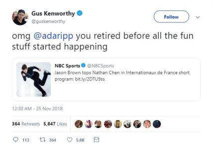 Gus Kenworthy's gay sex joke to Adam Rippon has fans going wild