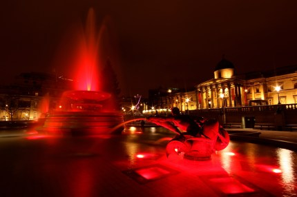 The fountains at Trafalgar Square turn red on World AIDS Day, to raise awareness of HIV prevention