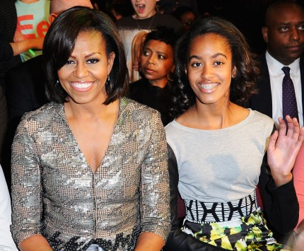 First Lady Michelle Obama and Malia Obama at Nickelodeon's 25th Annual Kids' Choice Awards held at Galen Center on March 31, 2012.