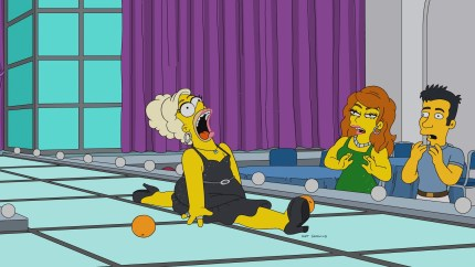 Homer Simpson doing the splits on The Simpsons
