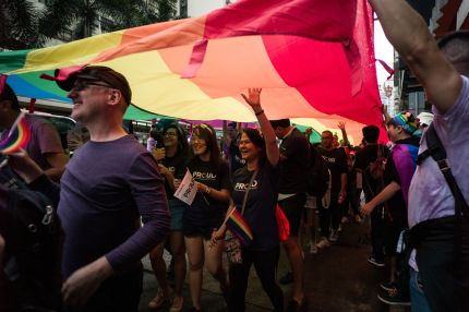People take part in Hong Kong's annual Pride parade