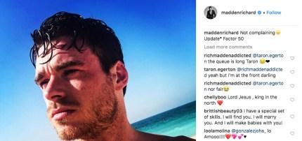 Taron Egerton is fanboying his Rocketman sex scene co-star Richard Madden's Instagram