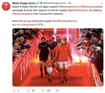 Welsh Rugby Union posts on Twitter in support of former captain Gareth Thomas