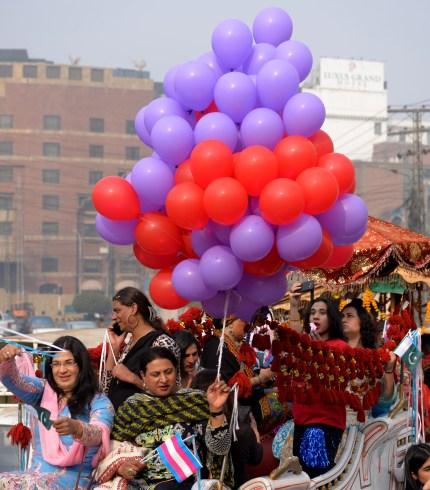 People take part in Pakistan's first Transgender Pride parade