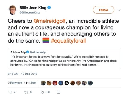 Billie Jean King praises Mel Reid for coming out on Twitter