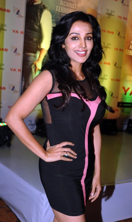 Indian Bollywood film actress Flora Saini poses during the poster launch and press conference of her upcoming film Ya Rab