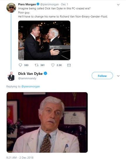 Dick Van Dyke responded to Piers Morgan with a Dick Van Dyke meme