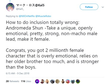 A tweet about Saint Seiya and the show's decision to make Andromeda Shun female