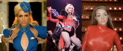 "The original Britney Spears outfits from ""Toxic"", the ""Circus"" tour, and ""Oops!... I Did It Again"""