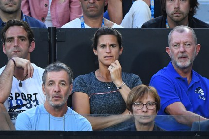 Amelie Mauresmo looks on in the men's semi final match between Novak Djokovic of Serbia and Lucas Pouille of France during day 12 of the 2019 Australian Open at Melbourne Park on January 25, 2019 in Melbourne, Australia.