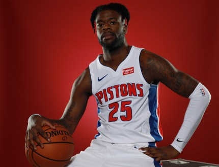 Reggie Bullock #25 of the Detroit Pistons poses for a portrait during Media Day at Little Caesars Arena on September 24, 2018 in Detroit, Michigan.