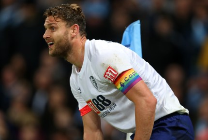 Simon Francis of AFC Bournemouth wearing a Stonewall rainbow captains armband during the Premier League match between Manchester City and AFC Bournemouth at Etihad Stadium on December 1, 2018 in Manchester, United Kingdom