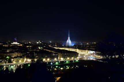 Nighttime shot of Turin, where multiple gay men have been beaten recently