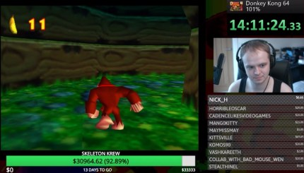 HBomberGuy is playing Donkey Kong 64 non-stop