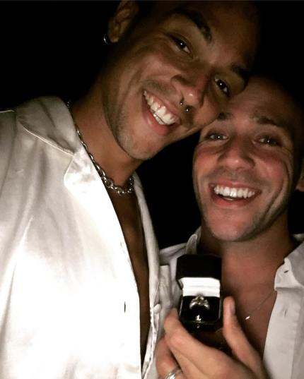 Hollyoaks actor Jimmy Essex holds an engagement given to him by partner Charles