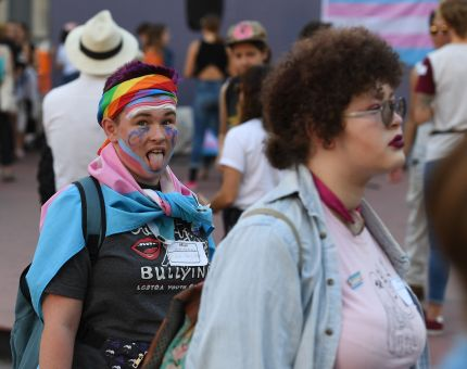 Members of the transgender community and their supporters hold a rally and march to City Hall before the mid-term elections to protest against what they say are continual attacks from the Trump administration, which states like New Jersey have moved to somewhat counteract with law changes