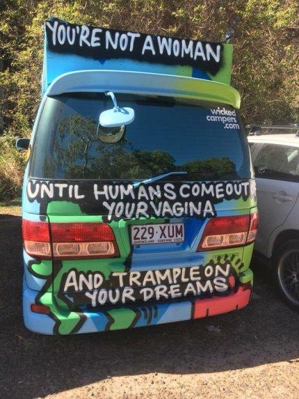 """The Wicked Campers branding was called """"just not right."""" (Reddit, u/JustaNutMeg, r/gatekeeping)"""