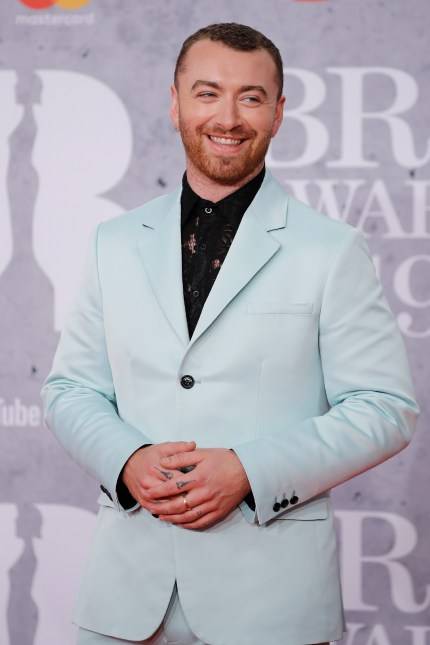 Sam Smith on the red carpet at BRIT Awards